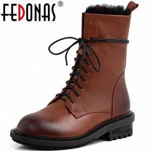 Fedonas Echtes Leder Frauen Herbst Winter Motorradstiefel Party Basic Schuhe Frau Lace Up High Heels Seite Reißverschluss Ankle Boots Chukka Z1im #