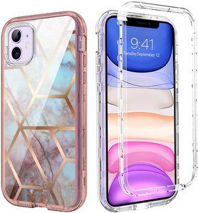 Für iPhone 12 Fall Luxus Marmor-Handy-Fälle 3in1 Hochleistungs-stoßfester Ganzkörperschutz-Abdeckung mit Samsung S21 Ultra kompatibel