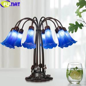 Fumat tiffany style 10 cabezas escritorio claro azul trompeta flor de cristal manchado lámpara aleación loto marco arte antiguo decoración de lujo