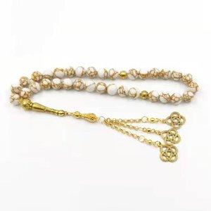 Abalorios, Strands Tasbih White Howlite Spun Gold Stone Muslim Rosary 33 Paryers Beads Misbaha Islámica Eid Regalo Pulseras