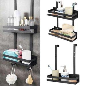 Bath Accessory Set 2 Layers Black Hanging Shelves Bathroom Shelf Organizer Nail-free Shampoo Holder Storage Rack Basket