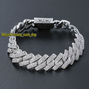 eternity European and American hip hop micro-set diamonds bracelet mens high quality bar 14mm CZ Diamond men Cuban bracelet large gold chain