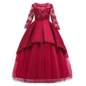 Teen Party filles robe de mariée manches longues dentelle dentelle fleur fête tulle princesse anniversaire robe robe pour filles 4-14 ans 210303
