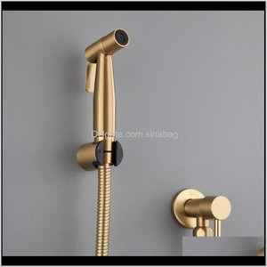 Antique Brushed Gold Douche Kit Hand Held Bidet Sprayer Stainless Steel Toilet Bidet Faucet Shattaf Valve Jet Set Shower Head Y200321 Szdbk