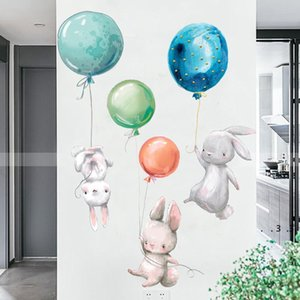 rabbit wall stickers kids room easter wall sticker decoration balloon bunny children girl nursery wall decal FWF4959