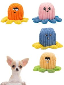 Octopus Dog Toys Stuffing Plush Puppy Teething Chew Toy With Sounding Paper for Small Medium Large Pets 496