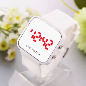 Spring summer new men's and women's fashion style LED plastic mirror candy color band electronic watch