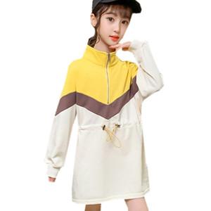 2021 New Korean Style Long Sweater for Teenage Girls Teen Spring Turtleneck Outerwear Children Elastic Waistline Sh Sweatshirt 4-13 y 5i3a