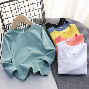 2021 Wear Spring Autumn Long Sleeve T-shirt Boys and Girls Cotton Round Neck Bottom Shirt Children's Color Net Version Korean