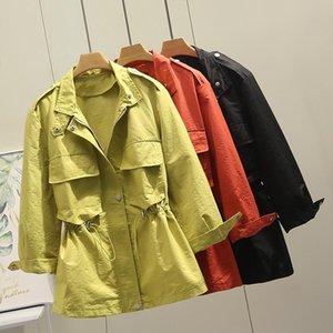 Women's Trench Coats Jacke Coat Korean 2021 Spring Autumn Casua Female Windbreaker Tops Outerwear Plus Size 4XL Women Clothes J195