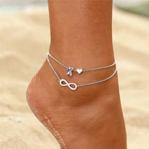 26 Letter Anklet Bracelets Female Initial Heart Infinity Charm Gift Ankles Bangle for Women Girls letters can be specified