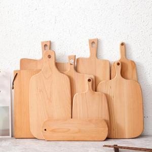 Buchenholz-Schneidebrett ausgehärtet mit Griff dickem Hackblock glattes und festes Hartholz-Schneidebrett für Küchenbrot-Teller AHA3635