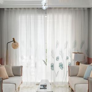 Palm Leaf Windows Tulle Curtains Living Room Bedroom Screening Yarn Drapes