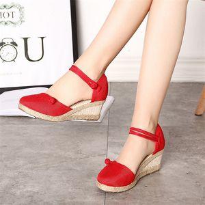 Women Sandals Casual Linen Canvas Wedge Sandals Summer Ankle Strap Med Heel Platform Pump Espadrilles Women Shoes 210226