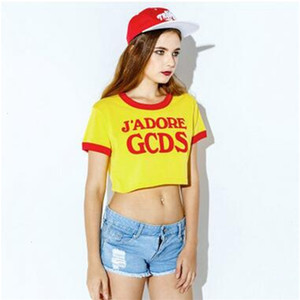Suede Letter GCDS Short Style T-Shirts For Women Spring New Arrival Sport Hot Sexy Basketball Baby Bare Midriff T shirts