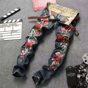 Man's Popular rose embroidery Jeans Brand design Hole patch ripped DJ nightclub jeans pants Plus Size 28-38 For Male