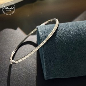 Aazuo Real 18K White Gold Real Diamonds 0.60-1.0ct Faship Hot Sale Line Bangle For Woman Upscale Trendy Wedding Engagement Party 0308