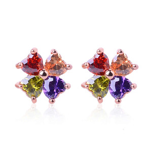HBP fashion luxury new Japanese and Korean zircon clover flower earrings for women