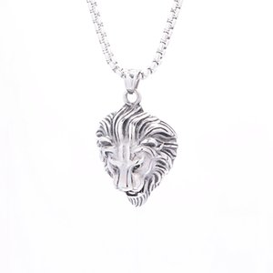 Hip Hop Lion Head Pendant Necklace Animal King Retro Jewelry Sliver Color Stainless Steel For Men Male Punk Jewelry Brother Gift
