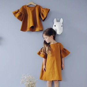 1PCS DROPSHIP 2-6Y Girls Flouncy Flare Short Sleeve Dress Baby Cotton Linen Summer Dresses Solid Pleated Skirt Solid Princess Dress HH24SC4F