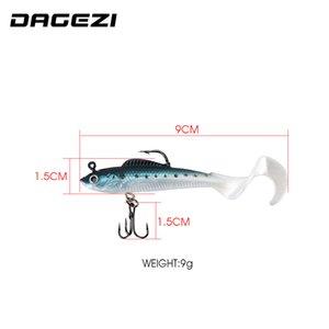 Dagezi Jig Head Lead Soft 1 Шт. Силиконовая Искусственная приманка 9 см / 9G Приманка Море Бас CARP Рыболовные снасти PESCA C0222