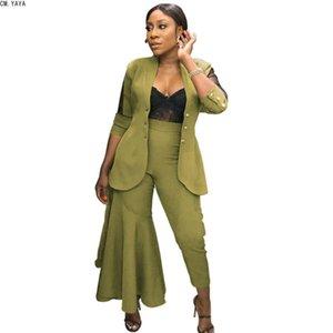 Women's Suits & Blazers CM.YAYA 2021 Women Notched Long Sleeve Mesh Patchwork One Side Ruffle Flared Pant High Waist Pants Blazer Suit CMWY6
