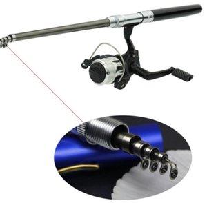 Aleación de aluminio Rodilla de pescar Mini bolsillo Pole Polo Reel Combos Ligero Telescópico Cañas de pescar con carrete 250 W2
