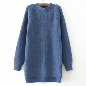 Essential Sweaters Women Autumn Winter Jumper Fashion Loose Pullover Mock Neck Knitted Casual Asymmetry Knitwear Female Clothing