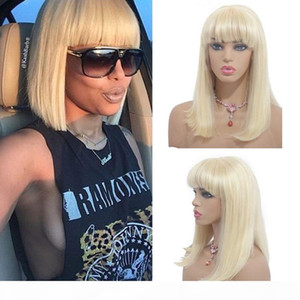 Ash Blonde Human Hair Bob Wig with Bangs Straight Lace Front Wig Virgin European Glueless Full Lace Wig with Bangs Color #613