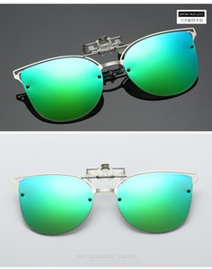 Clip-on Luxury Polarized Clip on Sunglasses Men Driving Night Vision Lens Cat Eye Sun Ladies Glasses