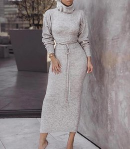 Color Knit Dresses Spring Female Casual Women Long Skirt Clothing Womens Midi Dress Fashion Trend Sexy High Neck Solid