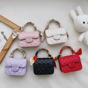 Luxury Girls Silk scarves handbag lady style kids Diamond lattice messenger bag 2021 designer children square one shoulder princess bags A7828