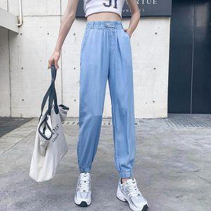 Women's Jeans High Waist Thin Denim Harem Pants Summer 2021 Pantalon Vaquero Negro Mujer Loose Ladies Trousers Casual Light Blue