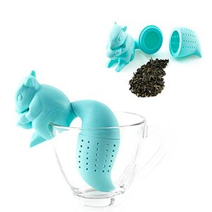 Colador de té creativo silicona lindo animal fabricante de té ardilla cola té té infusor filtro de fugas herramientas de cocina herramientas de cocina