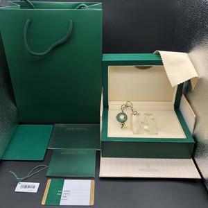الأصلي صحيحة مطابقة الأوراق الأمن بطاقة هدية حقيبة أعلى الخشب الأخضر ووتش مربع لك كورات رولكس صناديق الساعات طباعة بطاقة مخصصة