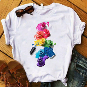 Colorful Nail Polish Printed 3D Womens T shirt 2021 Vogue Tee Shirt Femme Tumblr Tops Tshirt Casual Female Clothes Tops