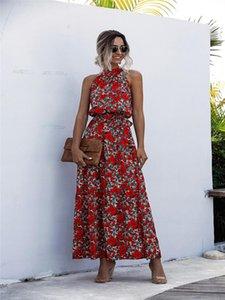 2020 Summer Long Robe Polka Dot Casual Midi Robes Noir Halter Sans Bondes Jaune Sundress Vacances Vêtements pour femmes 210222