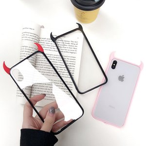 For iPhone11 Pro MAX 6 6s 7 8Plus X XR XS Max 3D Luxury Devil Horns Phone Case S9 S10 plusBlack Red Acrylic Back Cover Funda