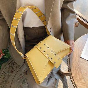 Black Flap Women Leather Small Handbags For Purse Fashion Rivet Shoulder Armpit Hobos Bag Retro Butterfly 2021 Design Vawcr