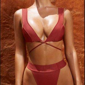 2021 New Bikini Mulher Split Color Sólida Nylon Reungando Fábrica de Swimsuit
