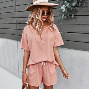 New Blouse Top Set Spring Summer Solid Short for Women 2021 Casual Outfit Two Piece Sets 46th