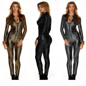 Outfit Faux Cuero Snake Print Bodysuits Sexy Night Club Rampers MUJERES MUMPSUITS MANERA COMPLETO Plansuits