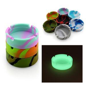 Silicone Ashtray Noctilucent Ashtrays Portable Pocket Round Ashtray Anti-scalding Cigarette Holder Luminous Mini Ash Tray YFA2730