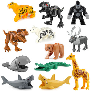 JM001-016 Animal Building Blocks Brick Crocodile Cheetah Leopards Cow Shark Orangutang Giraffe Bear Panda Horse Mini Figure Toy For Children