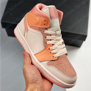 1 mi-abricot orange Femmes Sport Chaussure Orange Apricot Chaussure Homme Jumpman 1 Casual Skate Shoes Sneaker