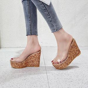 Summer Slipper Shoes Women Fashion Wedges Outside Platform Slides Non-Slip Transparent Sandals For Womans Shoes Zapatos De Mujer