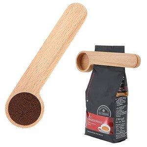 Hölzerne Kaffeeschaufel mit Tasche Clip Esslöffel Solide Buche Löffel ZZA3311