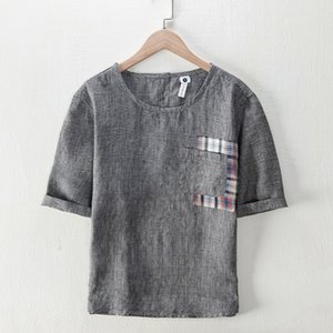 2021 100% Linen New Design Short Sleeve Casual t Shirt Men Brand Fashion T-shirt Mens O-neck Trendy Tshirt Male Chemise Rxus