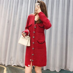 Knitted dress slim waist 2021 early spring diamond button French New Year red V-Neck Sweater Cardiganli