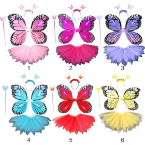 Yetişkin Çocuklar 4 adet Peri Kostüm Seti LED Simülasyon Kelebek Kanatları Sivri Tutu Etek Kafa Değnek Prenses Kız Parti Giydirme